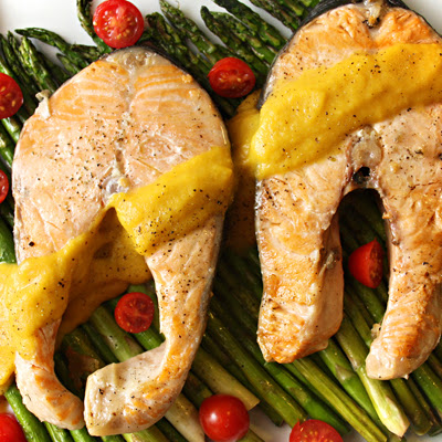 Grilled Salmon with Grilled Asparagus & Curried Butternut Squash Sauce