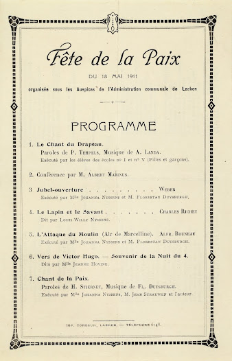 Programme from the Fête de la Paix (Peace Festival) held on 18th May 1911 by the Local Authority of Laeken, 1911