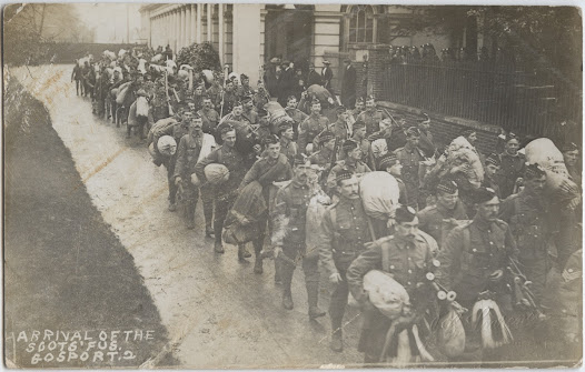 Arrival of the Royal Scots Fusiliers at Gosport, England
