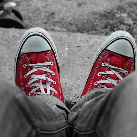 All Stars by Selver Ucanbarlic - Novices Only Objects & Still Life ( shoes, red, trousers, selective color, grain, all stars )