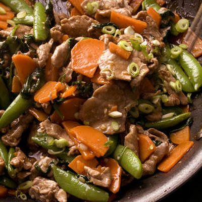 Five-Spice Pork Stir-Fry with Sweet Potatoes and Snap Peas