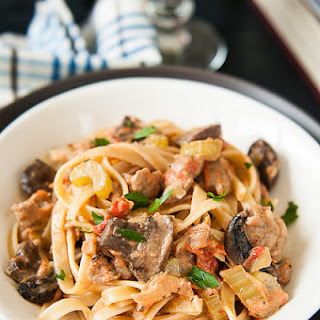 Fettuccine with Sausage & Mushrooms