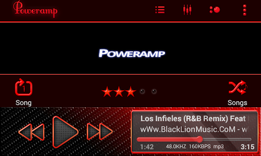 Poweramp Skin Red Neon - screenshot