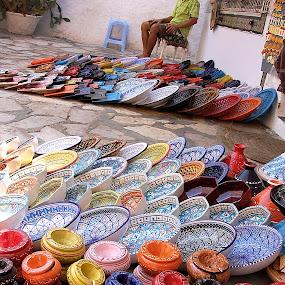 Poterie by Arti Fakts - City,  Street & Park  Markets & Shops ( hammamet, ashtray, tajine, colors, souvenir, ground, ceramic, potery, artifakts, market, plates, sell, tunisia,  )