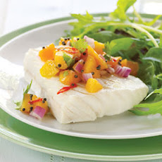 Chilled Poached Halibut with Fresh Apricot Salsa