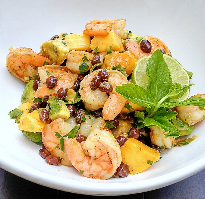 Shrimp, Mango, Avocado, Black Bean Salad with Chile-Lime Dressing