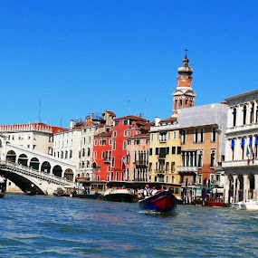 Typical Postcard by Leif Holmberg - Landscapes Travel ( water, rialto, venice, bridge, italy )