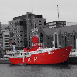 by Pat Murphy - Transportation Boats ( red boat albert dock bar )