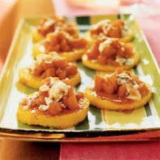 Polenta with Port-Poached Quince and Blue Cheese