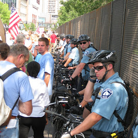 Bike police on the line. by Dan Dusek - News & Events US Events ( news photography, police, news, event, event photography )