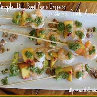 Walnut, Arugula, Dill, Basil Pesto Dressing on Shrimp, Peach, Avocado Skewers