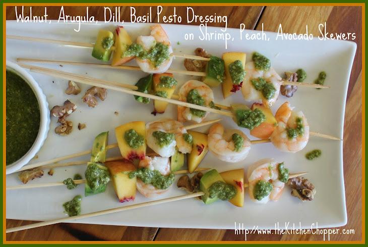 Walnut, Arugula, Dill, Basil Pesto Dressing on Shrimp, Peach, Avocado ...