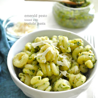 Emerald Pesto tossed with Trottole Pasta