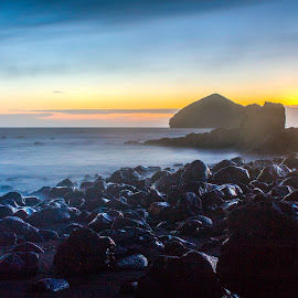 Sunset at Mosteiros by Ricardo Xavier - Novices Only Landscapes ( sunset, sea, long exposure, rocks )