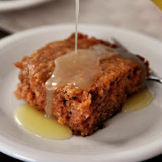 Apple Dapple Cake with Warm Vanilla Cream Sauce