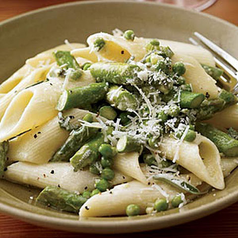 Penne with Asparagus, Peas, Mushrooms and Cream Recipe | Yummly