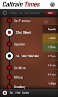 Screenshot of Caltrain Times