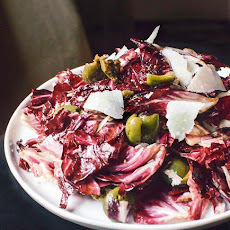 Radicchio Salad with Green Olives & Parmesan