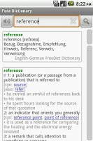 Screenshot of Fora Dictionary