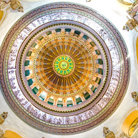 Study of the Illinois State Capital Rotunda by Gary Hanson - Buildings & Architecture Public & Historical ( illinois, rotunda, statues, round, high, capital )