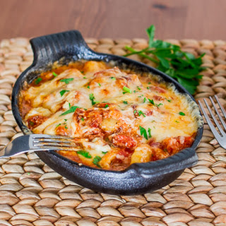 Gnocchi with Bacon, Tomato Sauce and Mozzarella