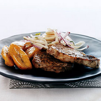Jerk Pork Chops with Hearts of Palm Salad and Sweet Plantains