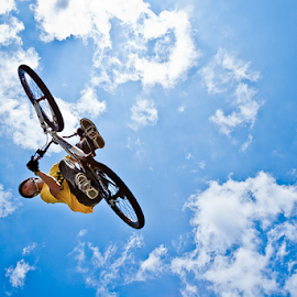 Float by Jesse Peters - Sports & Fitness Other Sports ( clouds, sky, bike, blue, bmx, stunt, jump )