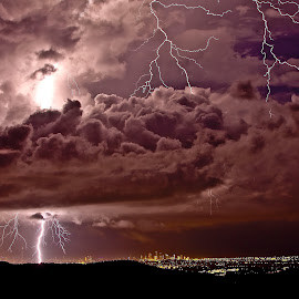 Stormy Skies by M S - Landscapes Weather ( gold coast lightning storm mount tamborine )