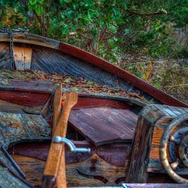 once a beauty by Lasbi Naboj - Transportation Boats ( naantali, wood, autumn, finland, boat, dusk, oars )