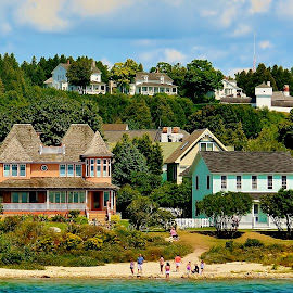 Mackinack Island Queen Annes by Tim Hall - City,  Street & Park  Neighborhoods ( michigan, mackinack straights, island beach, victorian, travel, hillside homes, upper peninsiula )