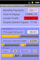 Screenshot of Fast Amortization Calculator