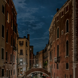 Always Venice! by Jesus Giraldo - City,  Street & Park  Historic Districts ( concept, reflection, boats, composition, buildings, night, beauty, channel, city )