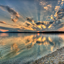 Chiemsee by Péter Mocsonoky - Landscapes Sunsets & Sunrises ( sunset, lake, sun )