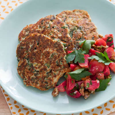 Savory Ricotta Cakes with Beet & Walnut Salad
