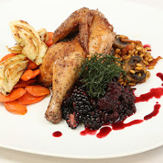 Roasted Poultry, Wild Boar Bacon, and Mushroom Farro with Pan-Roasted Fennel and Carrots