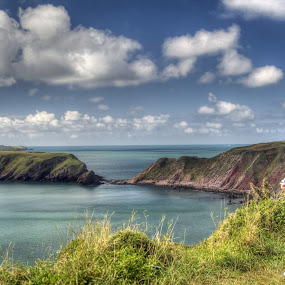Coast path view by Brian Miller - Landscapes Waterscapes ( wales, pembrokeshire, runner, coast, island )