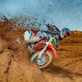 Berm Busting by Chris Richards - Sports & Fitness Motorsports ( motorb, motocro, moto, sport, motorcycle )