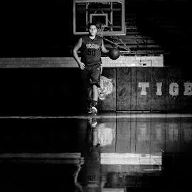 one last trip down memory lane by Kathy Jo Drake - Sports & Fitness Basketball ( young boy, basketball, black and white )