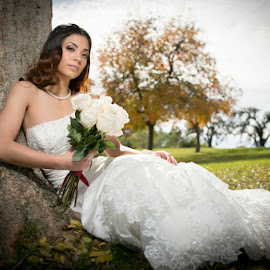 Sitting bride by Devin Donnelly - Wedding Bride ( autumn, wedding, beautiful, autumn colors, bride, young lady )