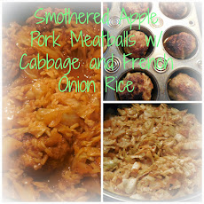 Smothered Apple Pork Meatballs with Fried Cabbage and French Onion Rice