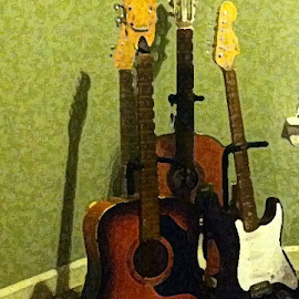 Waiting for a gig by Kaye Petersen - Artistic Objects Musical Instruments ( musical instrument, stands, green, electric, acoustic, guitars,  )