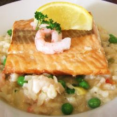 Prawn risotto with seared Scottish salmon