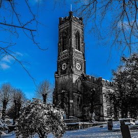 St. Peters Belper by Stuart Lilley - Buildings & Architecture Places of Worship ( building, church, snow, churches, buildings, selective color, pwc )