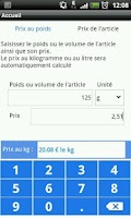 Screenshot of Calcul prix au Kg ou au litre