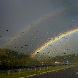 double rainbow by Emina Dedić - Instagram & Mobile Other ( car, thunderstorm, highway, enjoying, joy, beautiful, driving, tstorm, road, travel, double, storm, under the rainbow, car glass, hapiness, sky, drops, glass, lovely, summer, rainbow, rain,  )