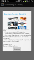 Screenshot of Examen Reglas Touring