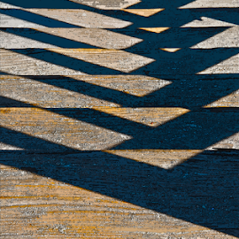 Bridge Patterns by Martha van der Westhuizen - Abstract Light Painting ( abstract, sand, patterns, wooden, bridge, shadows )