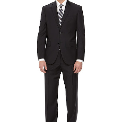 Neiman Marcus Two-Piece Striped Wool Suit, Black - (42S)