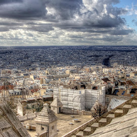 Paris from Sacre Coeur by Ben Hodges - City,  Street & Park  Skylines ( paris, eiffel tower, statue, sacre coeur, church, hdr, montmartre, basillica, france, travel )