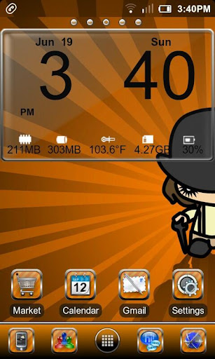 Orange Glass Go Launcher Theme